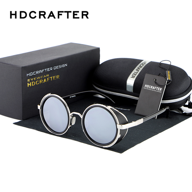 Round Metal Sunglasses men Steampunk Brand Lens Metal Frame Sunglasses High Quality Driving Retro Eyeglasses S003