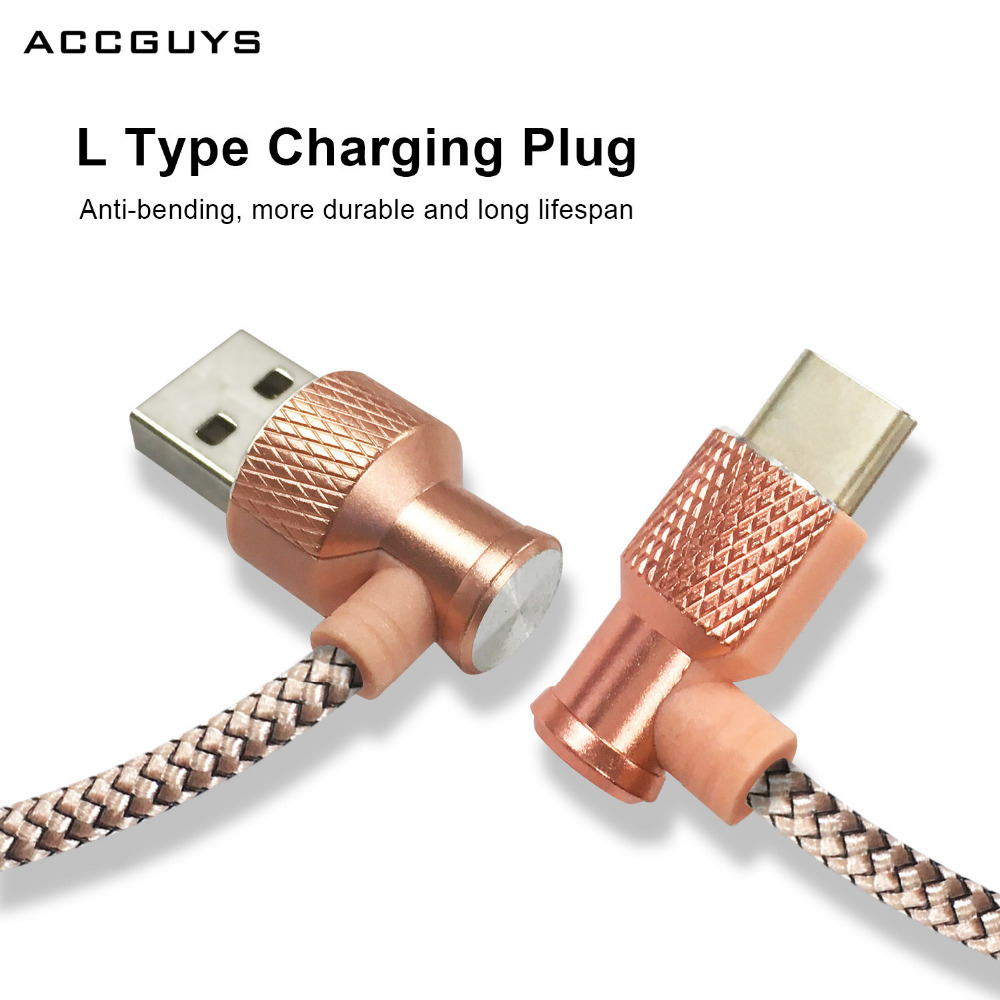 ACCGUYS L Shape Type C Charging USB Cable Data Sync Charge Cable for Samsung Galaxy C9 Pro Huawei P9 Plus For Nexus 5X LG G5 V20