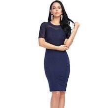 Для женщин Сексуальная Bodycon Платье сезон: весна–лето модные сетчатые полупрозрачные вечерние работы Платья для женщин цвет: черный, синий красный плюс Размеры 3XL короткий рукав