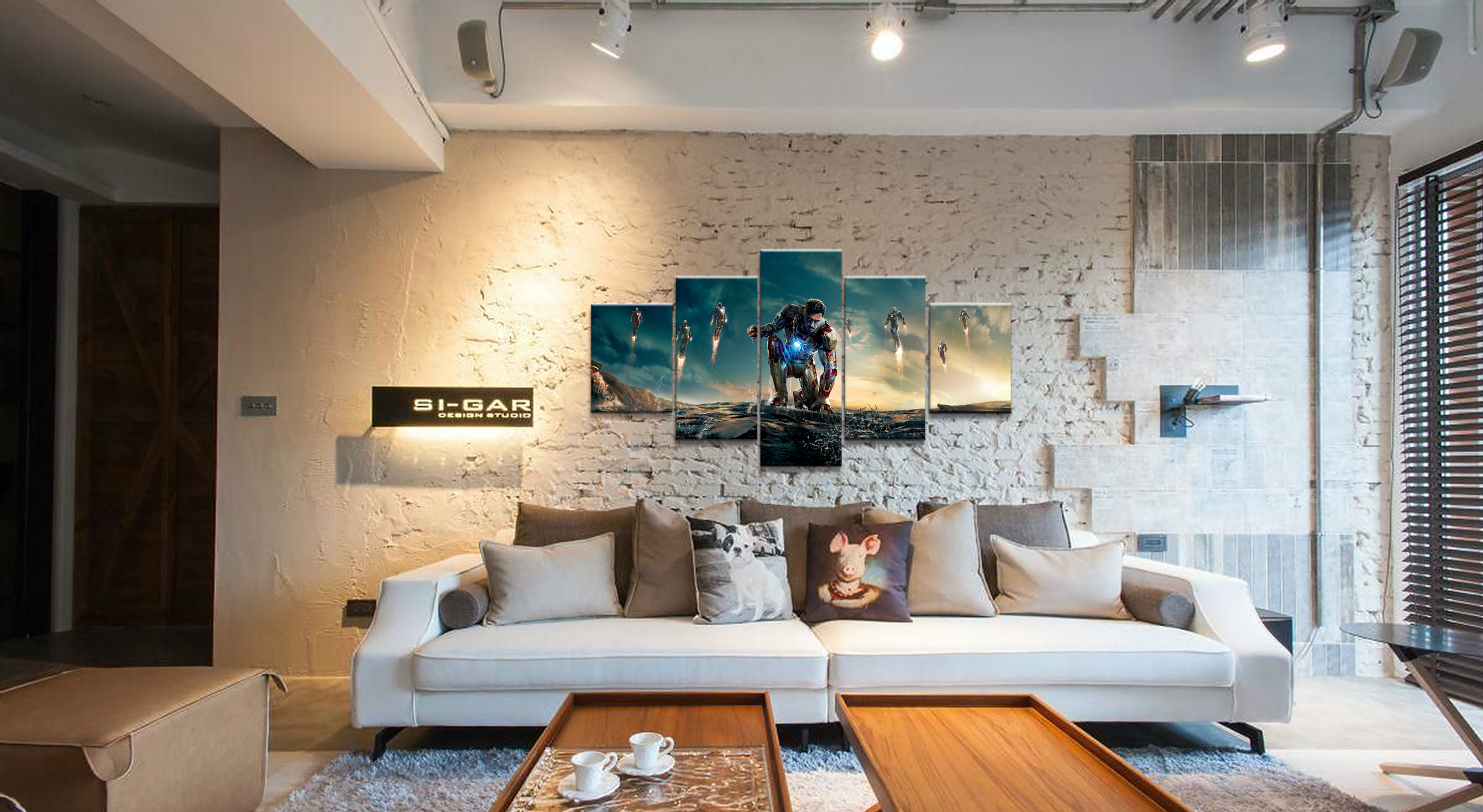 Hot Sales Without Frame 5 Panels Picture Super Marvel Iron Man Film Poster Artwork Wall Art Canvas Painting Wholesale in Painting Calligraphy from Home Garden