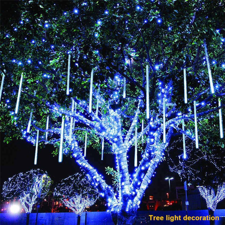 LED Lights Meteor Shower Rain Snowfall Xmas Tree Garden Outdoor 30cm  party weddings Christmas decor EU plug #1207 A2#