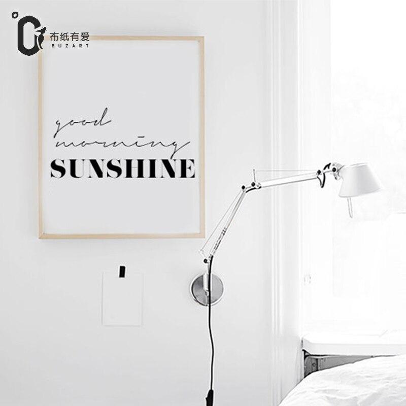 Dobré ráno nordický černobílý tisk Minimalistický typografický obraz na zdi Obraz na plátně NE Rám