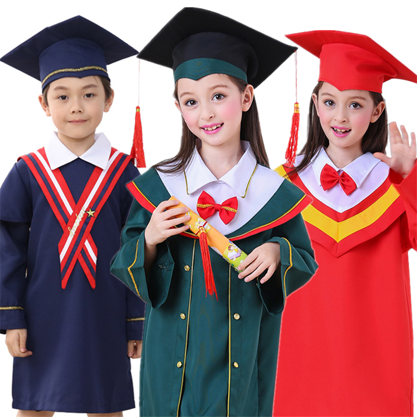 Chilren Clothing Student Doctor Bachelor Gown Class Graduation Clothes+Cap School Group Performance Unisex Kids Costume 100-170