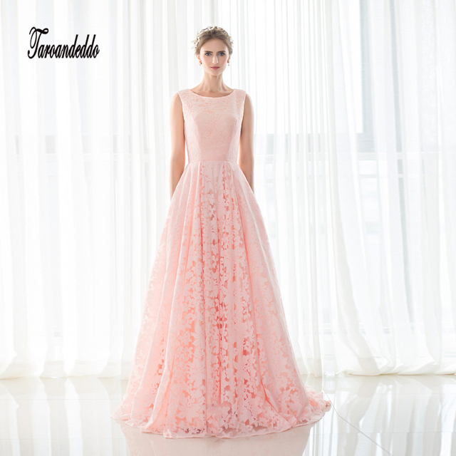 In Stock High Neck Sleeves Pink Lace A line Evening Dress Lace Up ...