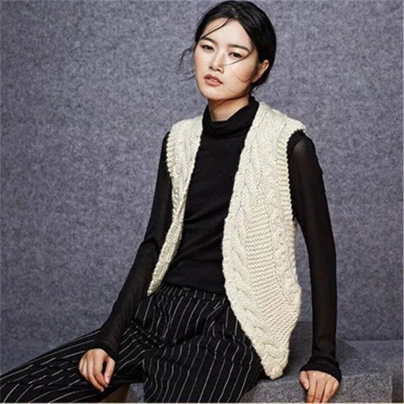 100% шерстяной, ручной работы витой вязать для женщин Мода Полосатый сплошной Vneck жилет свитер бежевый 7 видов цветов Индивидуальные