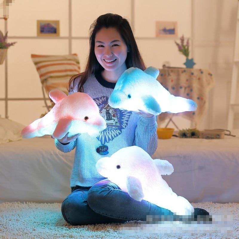 Colorful 30/45cm Led Light Pillow Animal Plush Dolphin Pillow Plush Doll Night Light Room Toy Party Christmas Gift