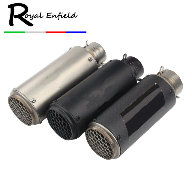 36-51mm and 61mm Universal Motorcycle Exhaust Muffler Modified for Exhaust Stainless Steel Carbon Fiber Fit Most Motorbike
