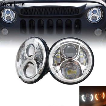 "2pc 120W 7"" Led Headlight Left Right Amber Turn Signal White Halo Angle Eyes Style Headlamp For Jeep Wrangler JK TJ Land Rover"