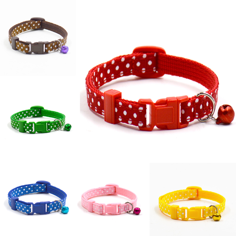 Sale 1pc New Adjustable Dot Printed Little Dog Collars Cat Puppy Pets Supplies With Bell 6 Colors