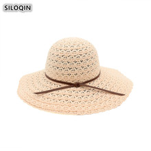 SILOQIN  Womans Summer Hat New Trend Hollow Bucket Foldable Panama Ladies Cap Motion Leisure Tourism Beach Hats For Women