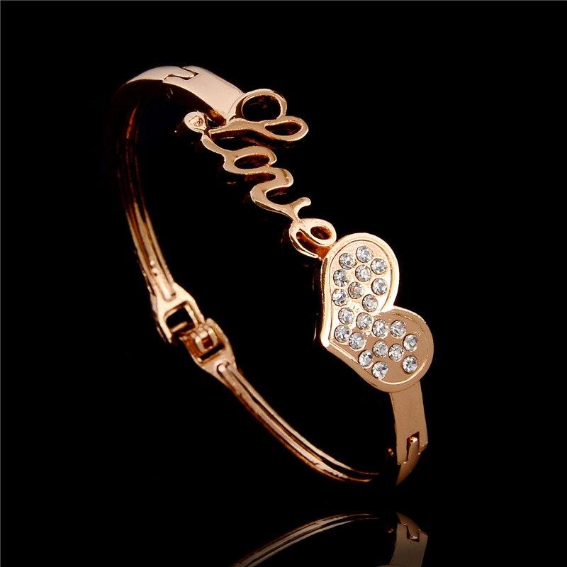 H:HYDE Nice Shipping Gold Color Cute Heart Love Austrian Crystal Womens  Bangle Bracelet(
