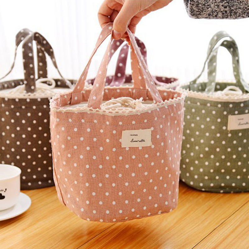 Thermal Cooler Waterproof Insulated Lunch Portable Carry Tote Storage Bag Linen Cotton Picnic Totes Carry Case Lunch Box
