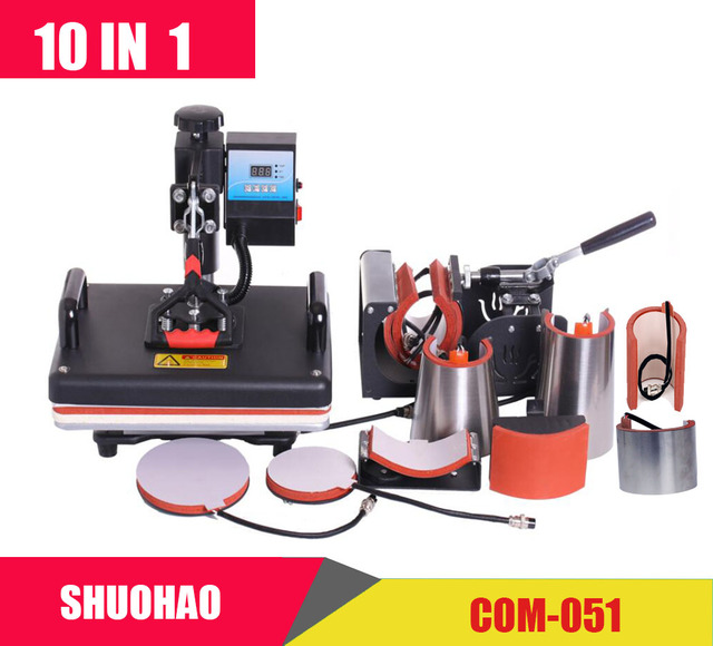 Barato 30*38 CM 8 en 1 Combo máquina de prensa de calor de la impresora de sublimación 2D máquina de transferencia de calor para tapa taza de camisetas CE aprobado