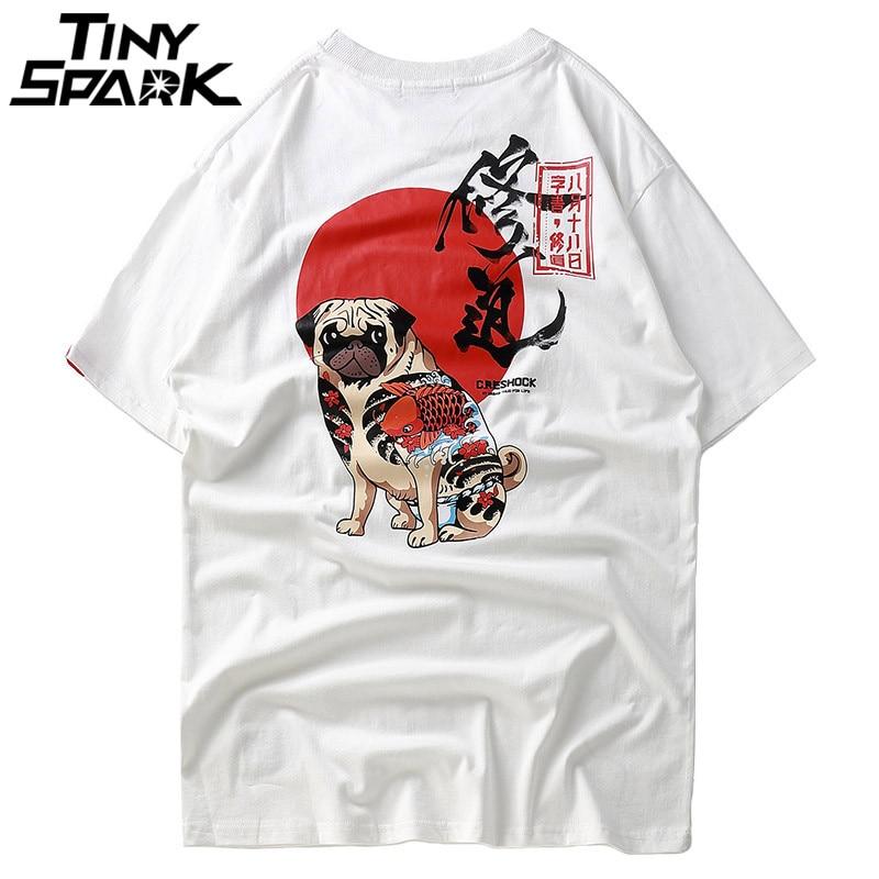 Hip Hop T Shirts Men Japanese Harajuku T-Shirt Cartoon Dog Print Chinese Character Tshirt Streetwear Casual Tee 2018 Summer New