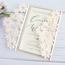 Winter wedding invitations snowflake elegant party supply personalized printing insert card with glitter border 50pcs/lot