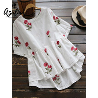 AZULINA Sweet Floral Embroidery High Low Blouse Shirt 2017 Women Ladies Short Sleeve White Tops O