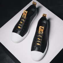 Spring Men Flats Casual Shoes Pu Leather Sneakers For Male Fashion Luxury Brand Black White Adult