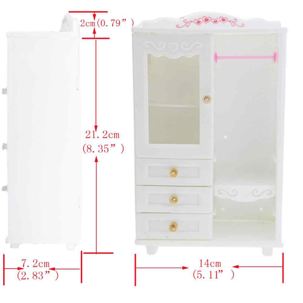 Mini 1:6 Plastic Dollhouse Furniture White Wardrobe Movable Drawer Play House Bedroom Accessories For Barbie Doll Best Toy