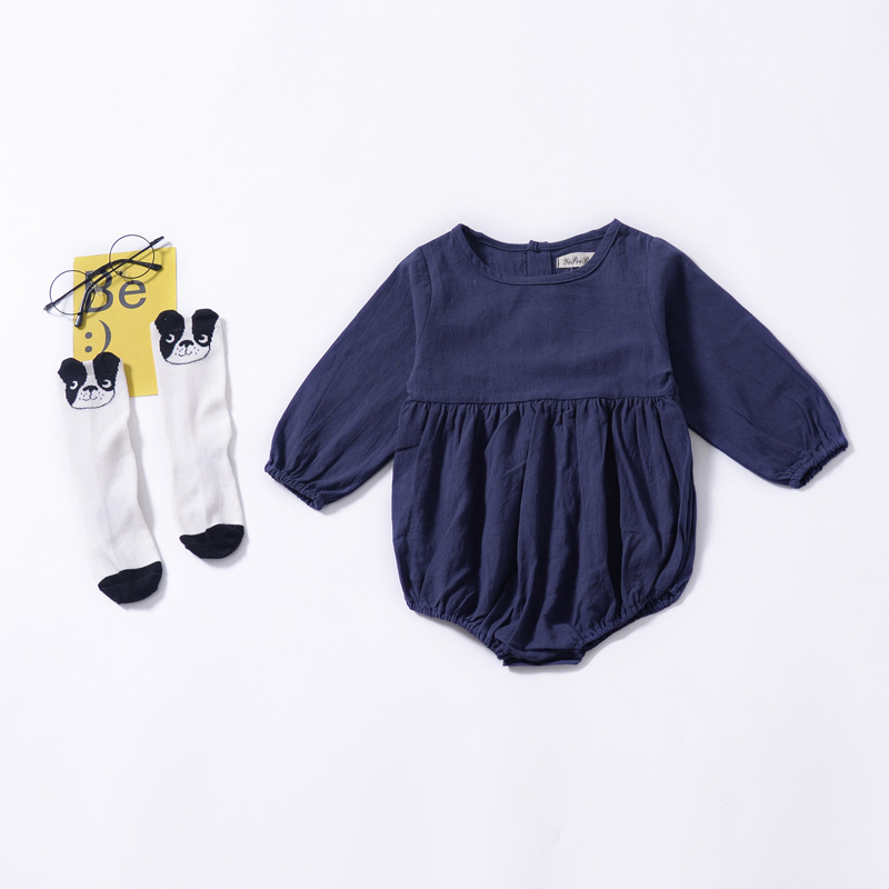 94b90a2f8723 Baby Girls Winter Bodysuit 2018 Autumn Navy Blue Long Sleeve Bodysuit for Baby  Girls Infant Onesie Jumpsuit Baby Clothes-in Bodysuits from Mother   Kids  on ...