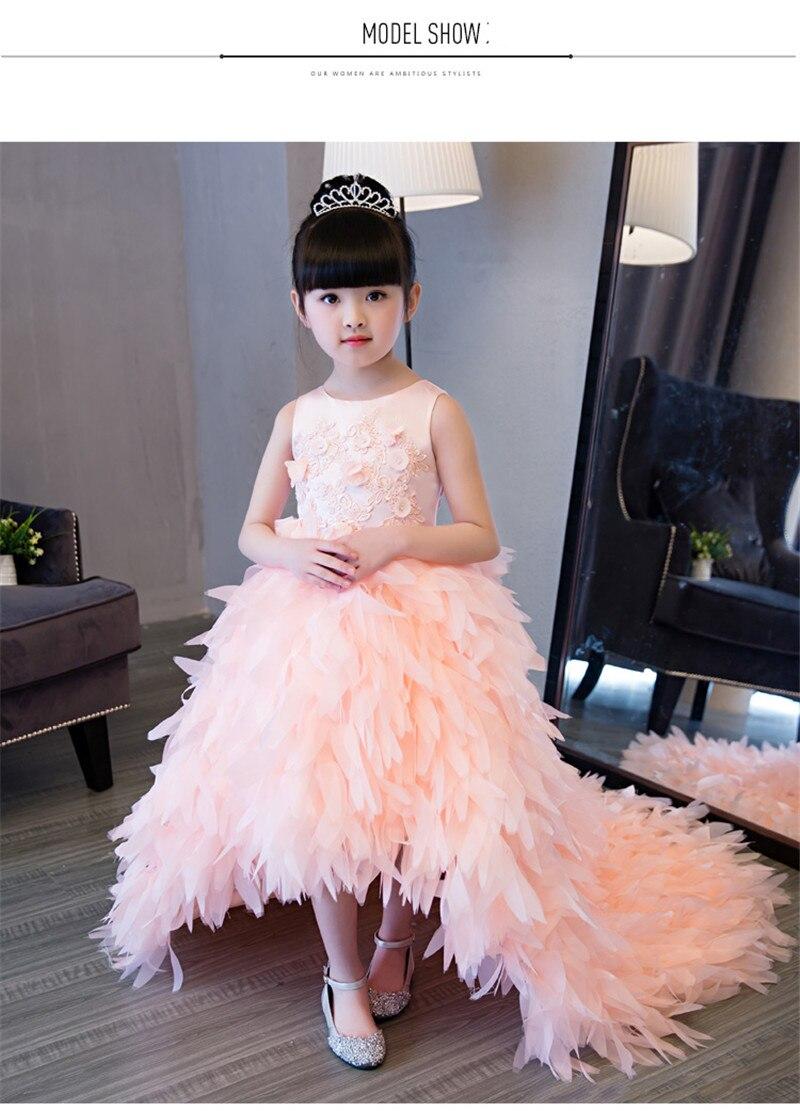 Lujo europeo Niñas niños Encaje flores princesa vestido con plumas ...