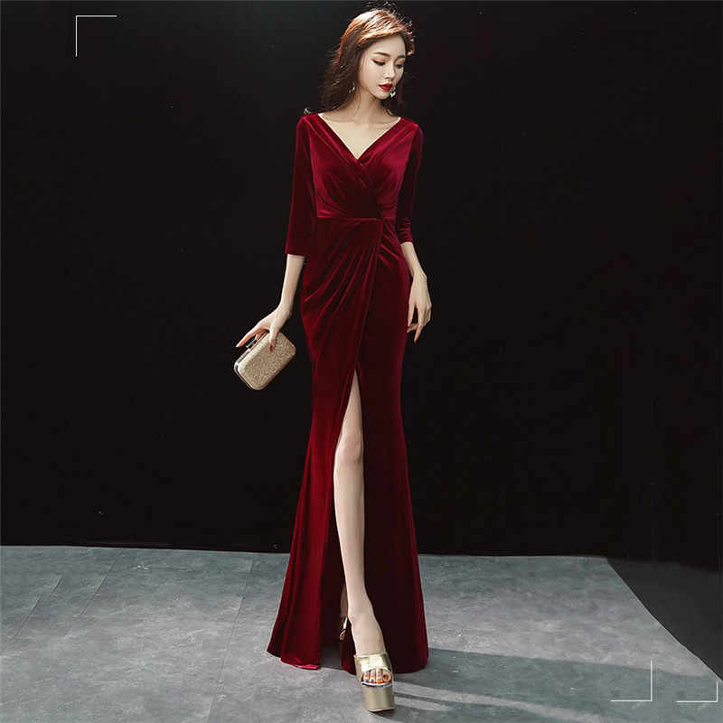 f7e048b575 Corstory Elegant Half Sleeves Deep V Sexy Slit Floor Length Dress Wine Red  Velvet Slim Mermaid Evening Club Party Pakaian Petang