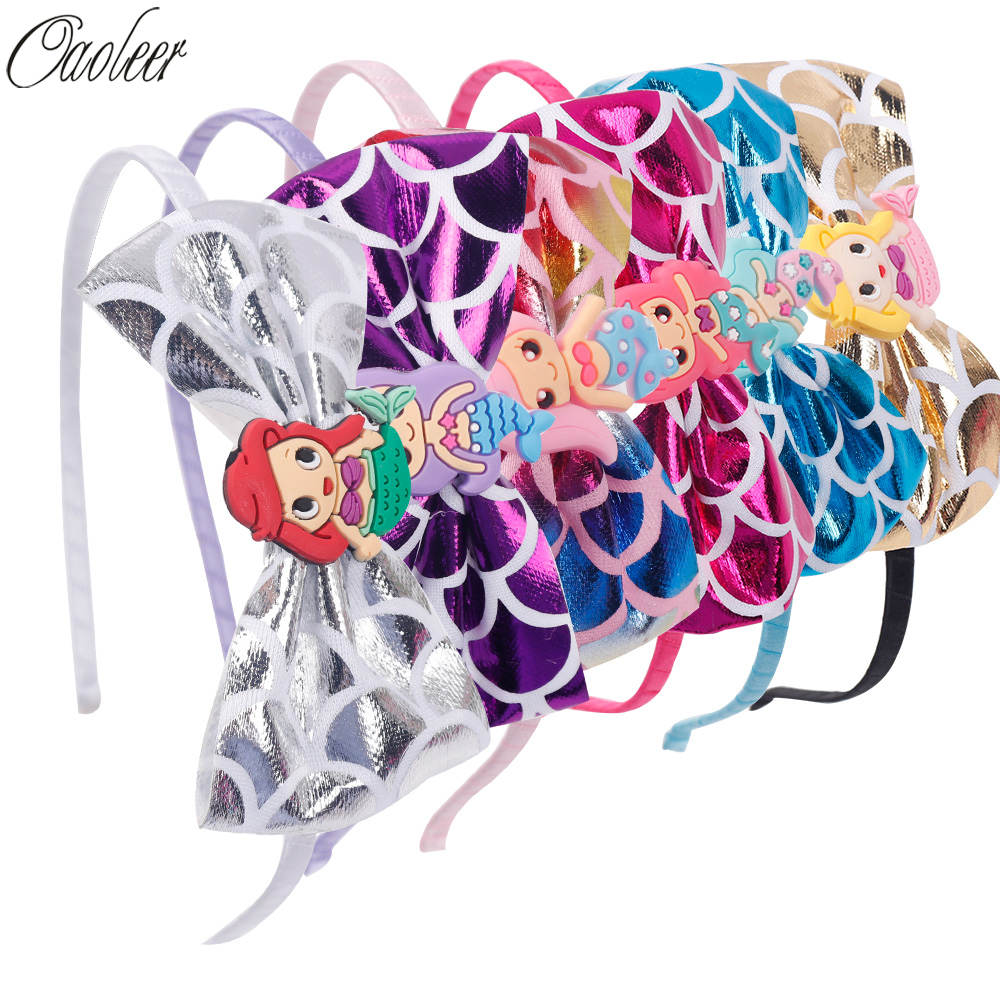 2 Pcs/lot Cartoon Mermaid Hairband Leather Fish Scales Bowknot   Headwear   Fabric Princess Headband For Kids Hair Accessories