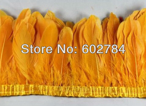 Free Shipping 2meters 4-6 yellow gold geese feather trim / trimming / fringe dyed goose feather ribbon Duck feather fringe