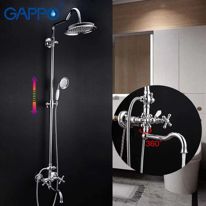 GAPPO Shower Faucets chrome bathroom faucet brass shower set waterfall system mixer torneira