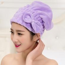 Однотонная шапка для быстрой сушки волос из микрофибры, тюрбан для женщин, девушек, девушек, шапка для купания, полотенце, головной убор