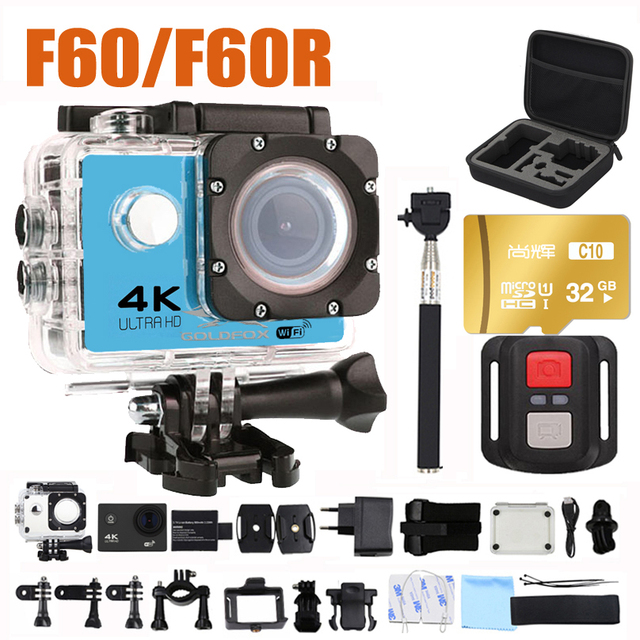 Ultra Hd 4 K Actie Camera Wifi Camcorders 16MP 170 Go 4 K Deportiva 2 Inch F60 30M Waterdicht sport Camera Pro 1080P 60fps Cam