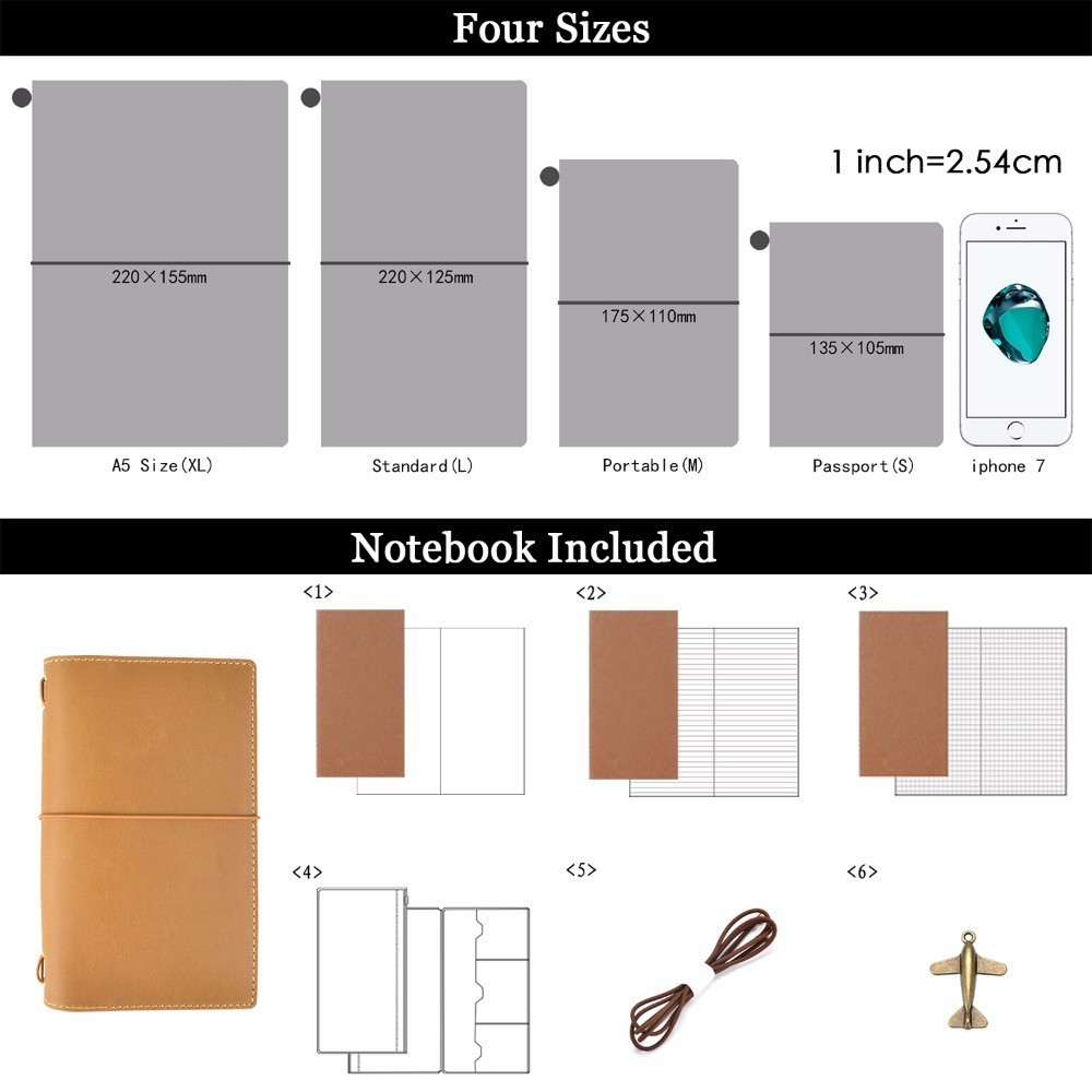 Image 3 - 20 Pieces / Lot Passport 130x105mm Genuine Leather Notebook Handmade Travel Journal With Card Holder Diary Sketchbook Planner-in Notebooks from Office & School Supplies