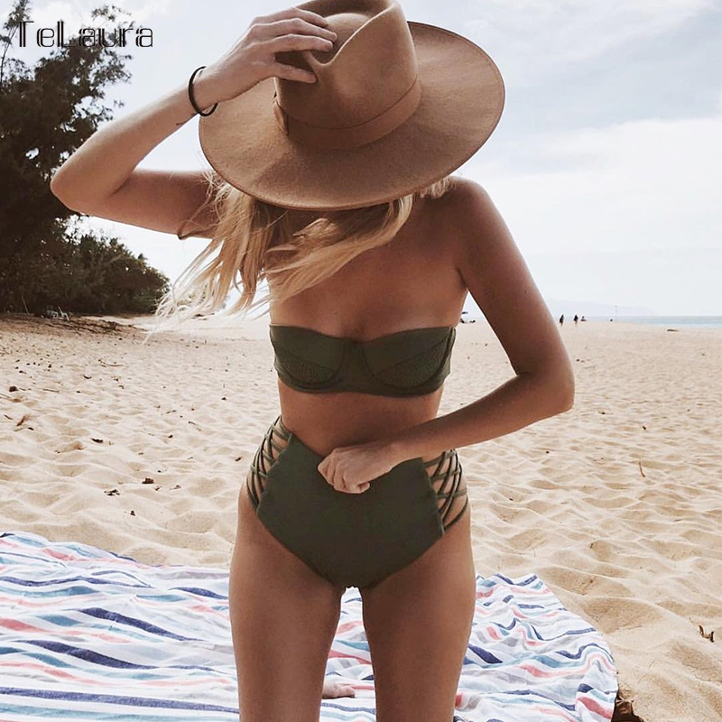 купить 2018 High Waist Bikini Women Swimwear Push Up Swimsuit Bandage Bikini Set Biquini Hollow Out Bathing Suit Solid Swim Suit Female