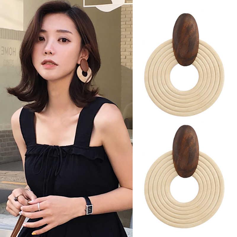 AENSOA Корея ручной большой круглый кулон серьги для Для женщин 2019 деревянные Африканские Этнические себе серьги вечерние украшения подарок