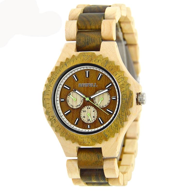 ФОТО BEWELL Wood Watch for Men Waterproof Watches Three Eyes Brand Luxury correas para Watch Men relojes deportivos par hombres 116B