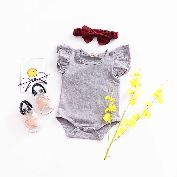 fbe0e906e ... bodysuit girls 6M-2T baby summer clothes for infant toddler short  flutter sleeve single breasted ...