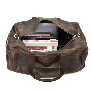 Image 5 - Big Capacity Men Travel Bag Thick Crazy Horse Genuine Leather Male Travel Duffel Extra Large Luggage Handbag Shoulder Bag Tote