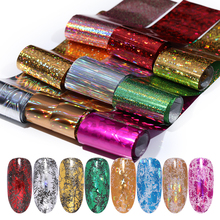 Holographic Nail Foils Colorful Transfer Stickers Mixed Patterns Art Decals Foil Sticker