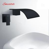 Smesiteli Wholesale And Promotions Wall Waterfall Bath Spout Basin Diverter Mixer Tap Brass Square Faucet Matte Black Finish