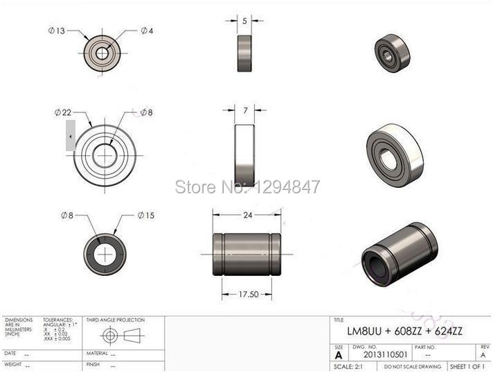 3D Printer 624ZZ Ball Bearing ideal for RepRap Prusa Mendel 13x5mm 4mm hole