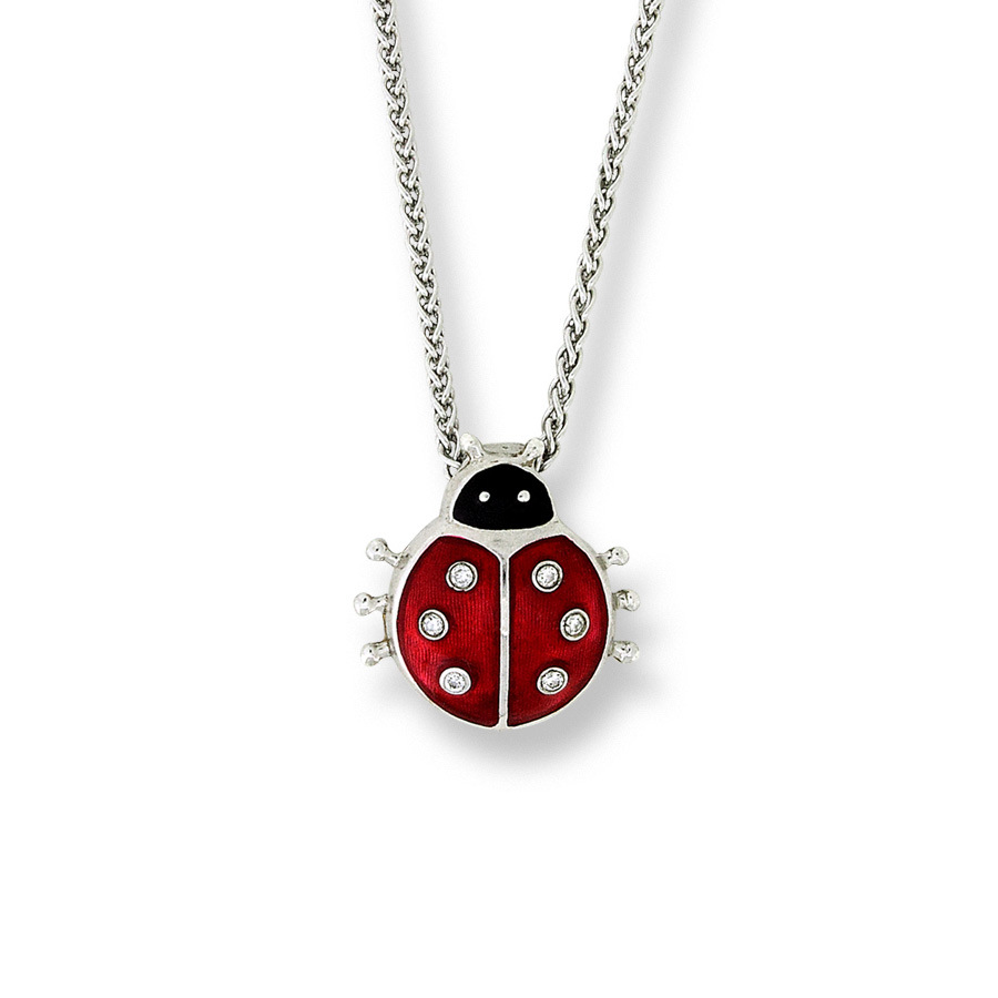 925 Sterling Silver lovely small Ladybug red Enamel pendant women statement necklace free chain vintage accessories rainmarch 925 sterling silver pendant for women necklace blue enamel flower necklace pendant with cz enamel jewelry accessories