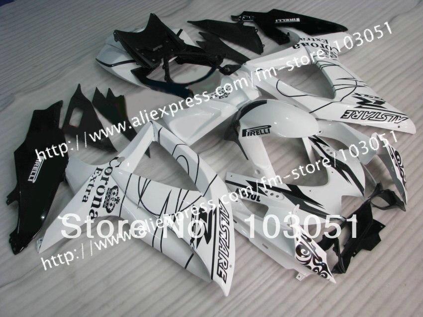 Alto grado para 2008 Suzuki gsxr 750 2009 2010 carenados gsxr 600 carenado K8 08 09 10 brillante blanco negro corona su61