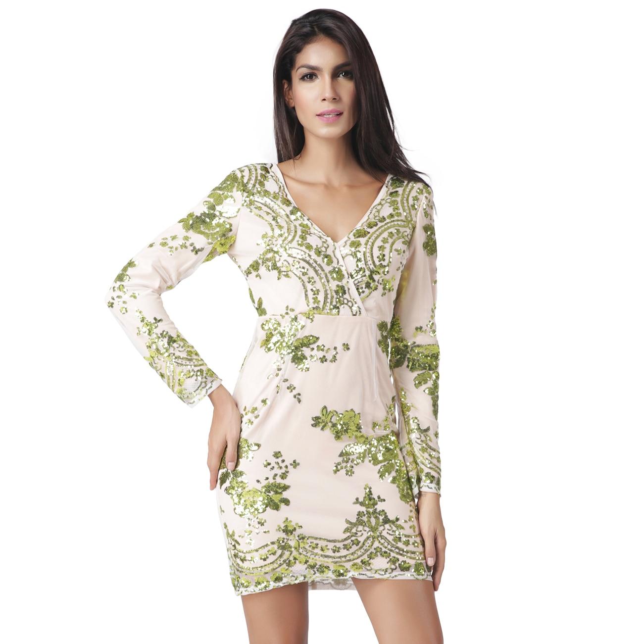 Sequin silk dress women 2017 new green shining long sleeve for Long sleeve silk shirt dress