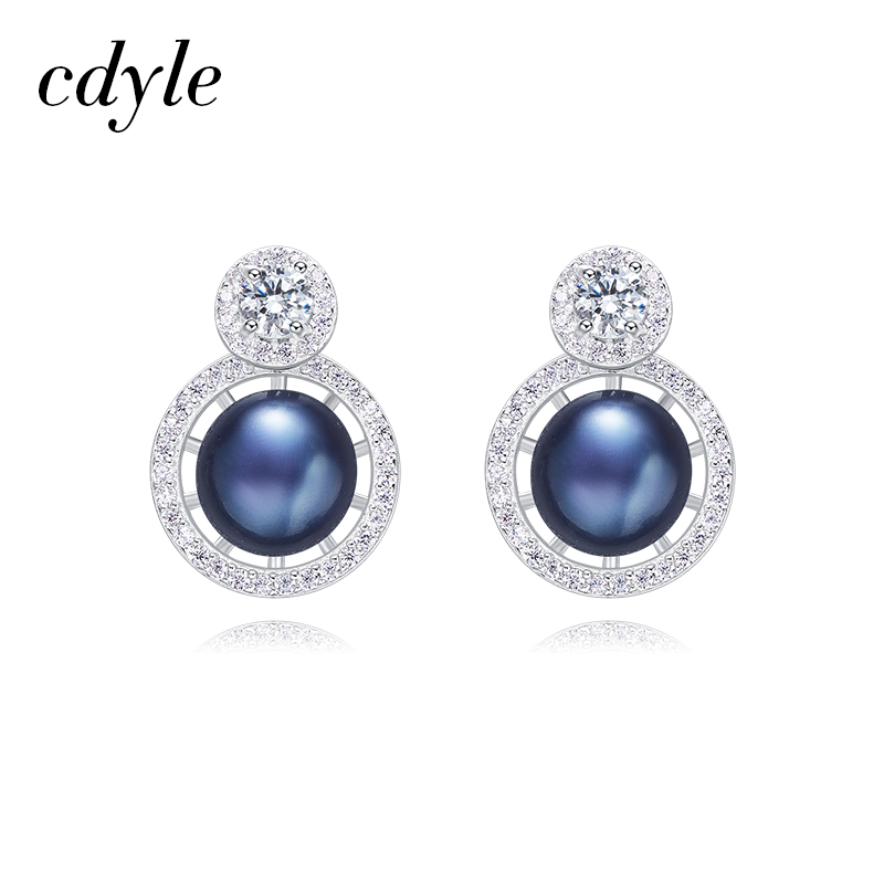Cdyle Stud Earrings Women Earrings S925 Sterling Silver Fashion Jewelry Austrian Rhinestone Paved Bijoux Blue White Crystals pair of chic faux crystals rhinestone stud earrings for women