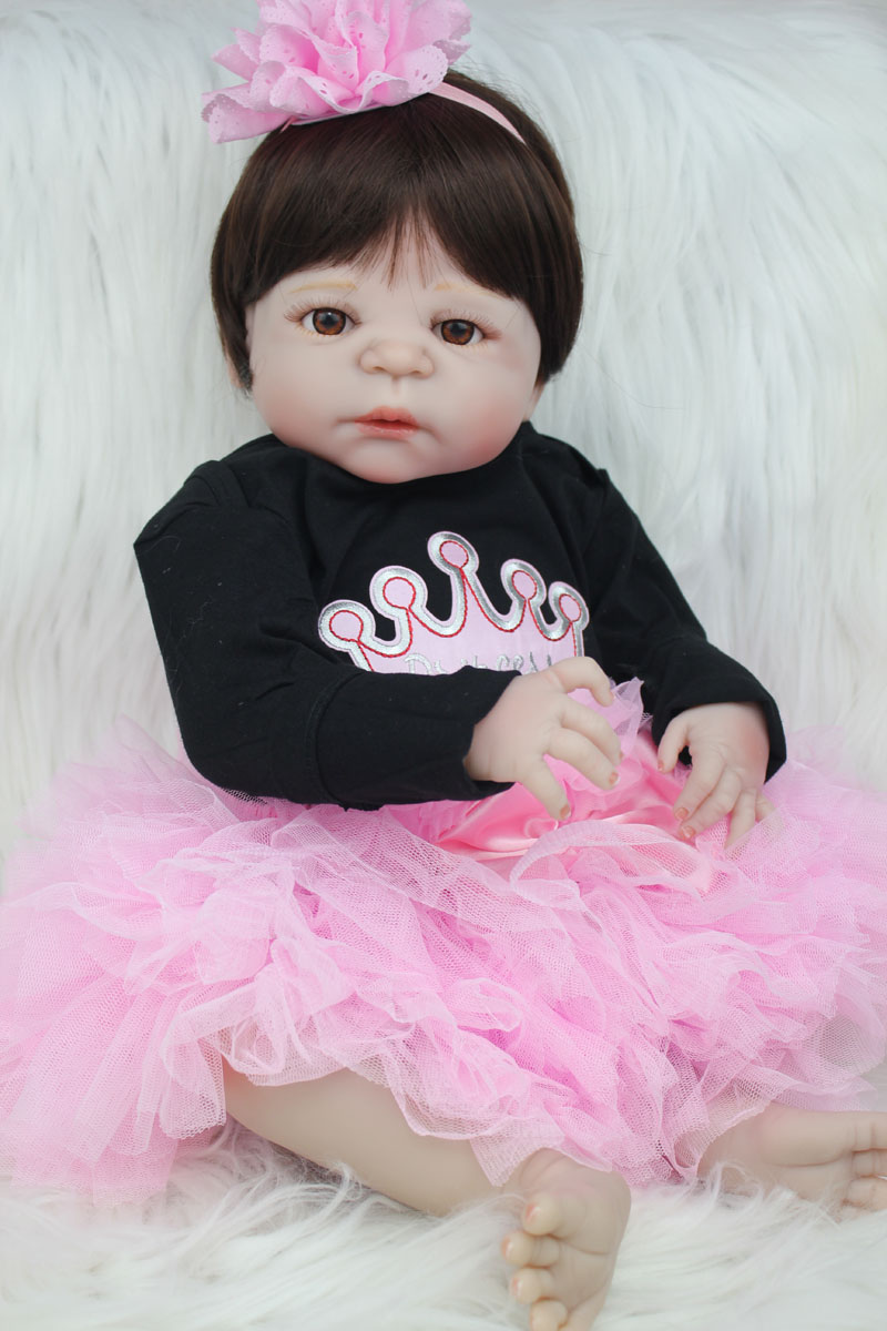 55cm Full Body Silicone Reborn Baby Doll Toy Like Real 22inch Newborn Girl Princess Toddler Babies Doll Xmas Birthday Gift 55cm full body silicone reborn baby girl doll toys like real 22inch newborn babies princess toddler doll birthday gift bathe toy