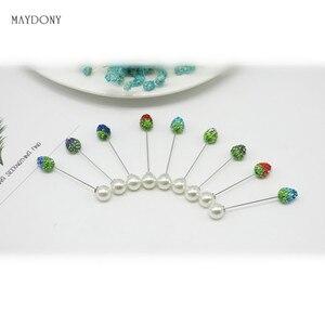 Image 4 - SP129 12 Pz/set di Modo 10mm Shambara Sfera di Cristallo Spilla Pin Sciarpa Musulmana del Hijab pin Pin Sciarpa Clip Wedding Pin Per donne