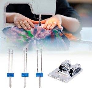 Image 1 - 3 unidades/juego de agujas dobles + prensatelas arrugadas para máquina de coser, tamaño 2/90 3/90 4/90, accesorios multifuncionales, aguja