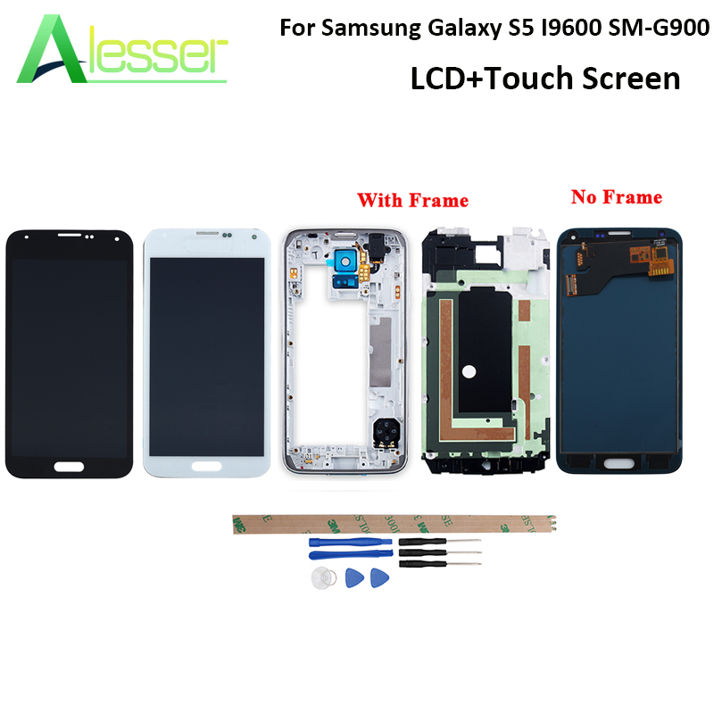 Alesser For Samsung Galaxy S5 I9600 SM-G900 LCD <font><b>G900F</b></font> G900M Display And Touch Screen Amoled With Frame Adjust Brightness +Tools image