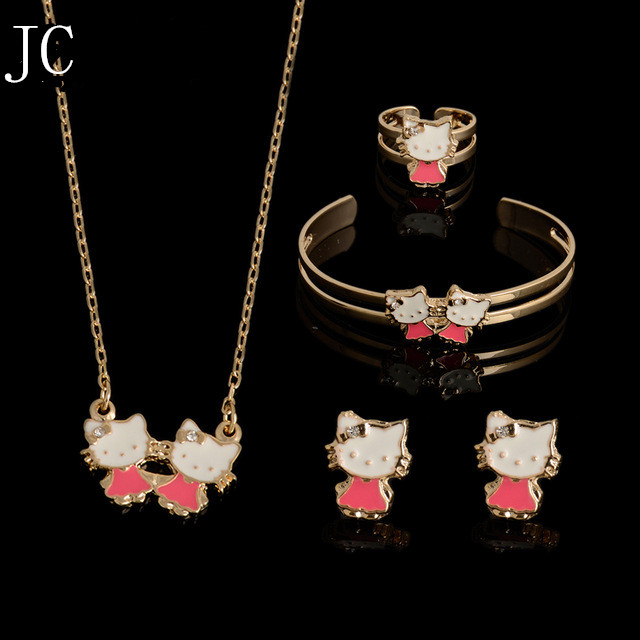 73d2c2558 2016 Hot Kids Baby Girls GOLD plating Jewelry Beads Hello Kitty Necklace/ Bracelet/Ring/Earrings Lovely Children Set Gif