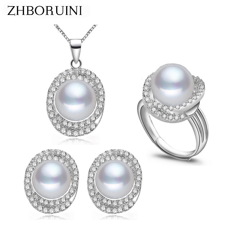 ZHBORUINI 2019 Pearl Jewelry Sets Natural Freshwater Pearls Big Zircon Necklace Earrings Ring 925 Sterling Silver