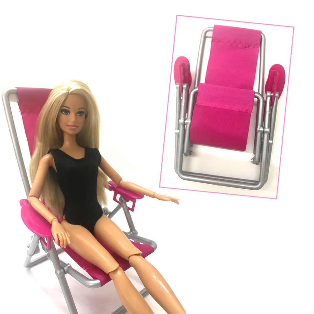 NK Um Pcs Acessórios Príncipes Boneca Boneca de Plástico Cadeira de Praia Dobrável casa de Sonho Sofá Poltrona Móveis Para Barbie Boneca DZ